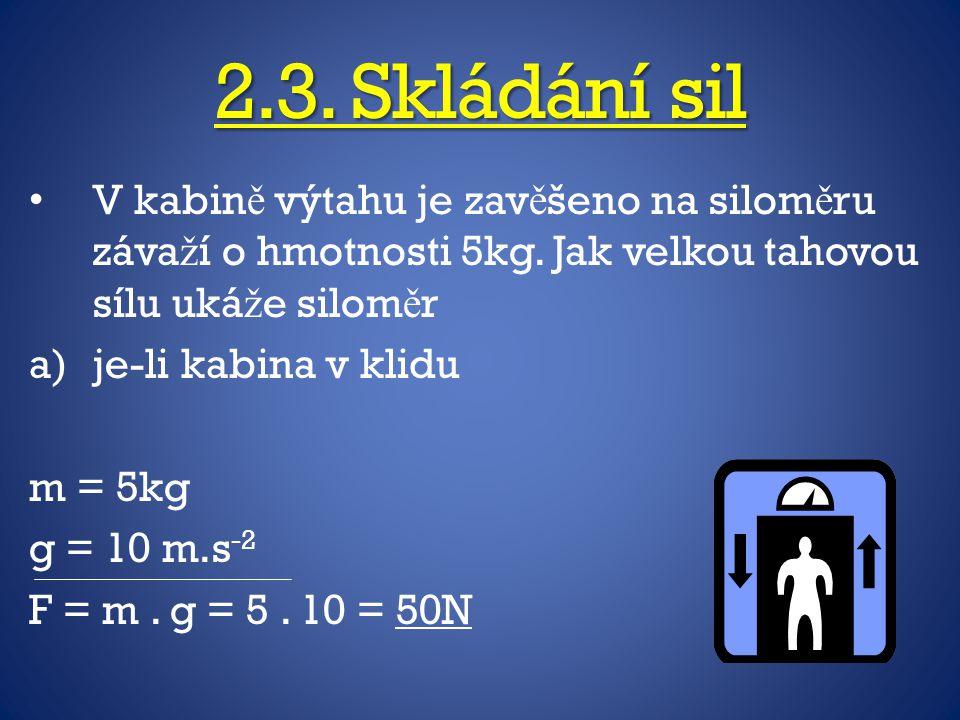 2.3. Skládání sil V kabině výtahu je zavěšeno na siloměru závaží o hmotnosti 5kg. Jak velkou tahovou sílu ukáže siloměr.