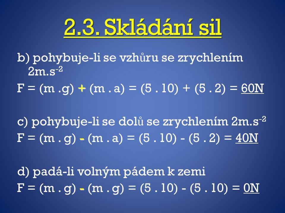 2.3. Skládání sil b) pohybuje-li se vzhůru se zrychlením 2m.s-2