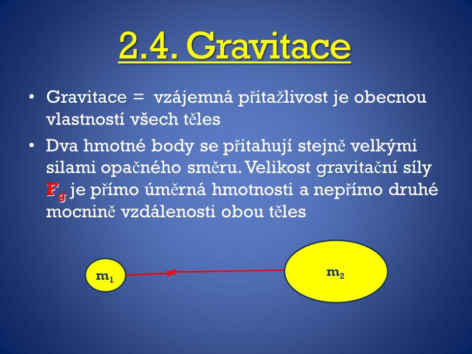 2.4. Gravitace Gravitace = vzájemná přitažlivost je obecnou vlastností všech těles.