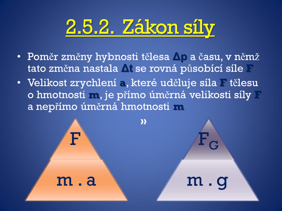 2.5.2. Zákon síly Poměr změny hybnosti tělesa Δp a času, v němž tato změna nastala Δt se rovná působící síle F.