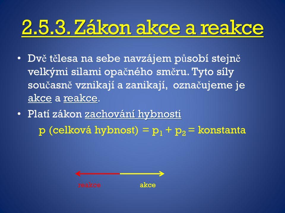 p (celková hybnost) = p1 + p2 = konstanta