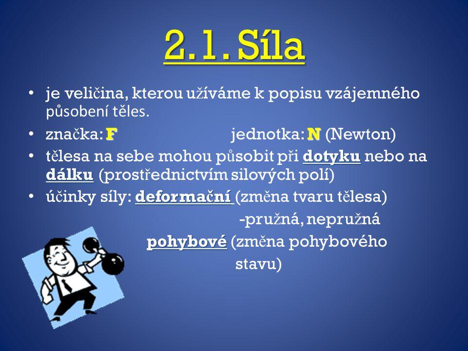 2.1. Síla je veličina, kterou užíváme k popisu vzájemného působení těles. značka: F jednotka: N (Newton)