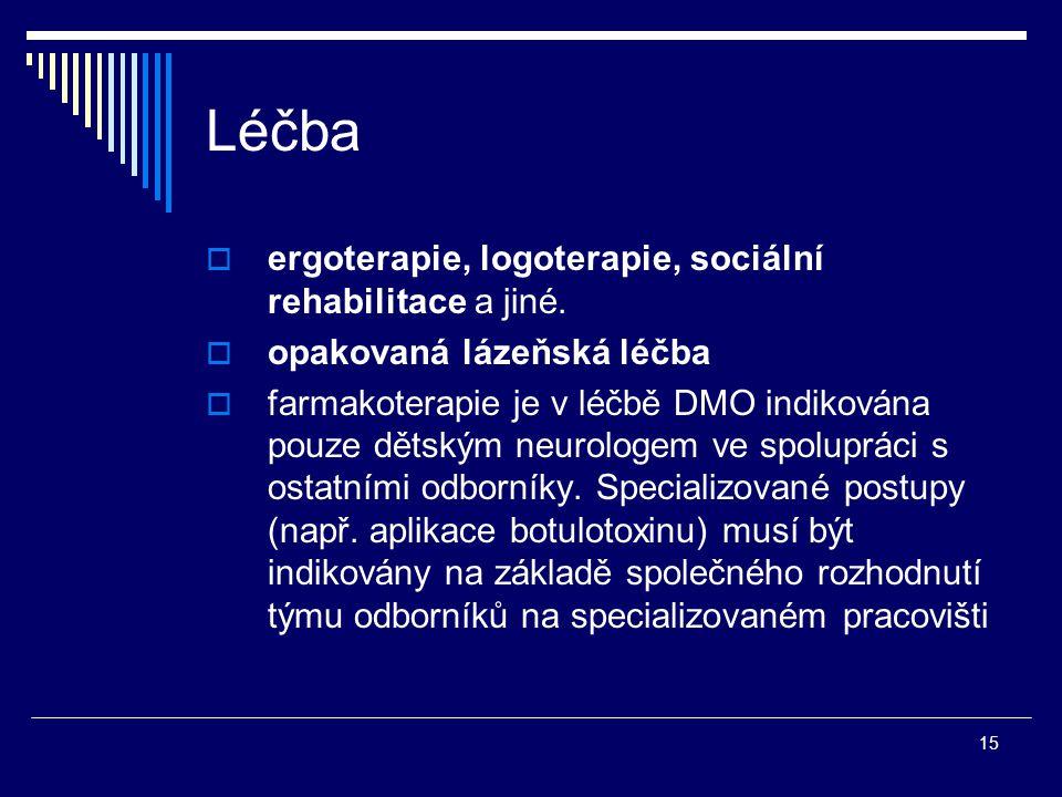Léčba ergoterapie, logoterapie, sociální rehabilitace a jiné.