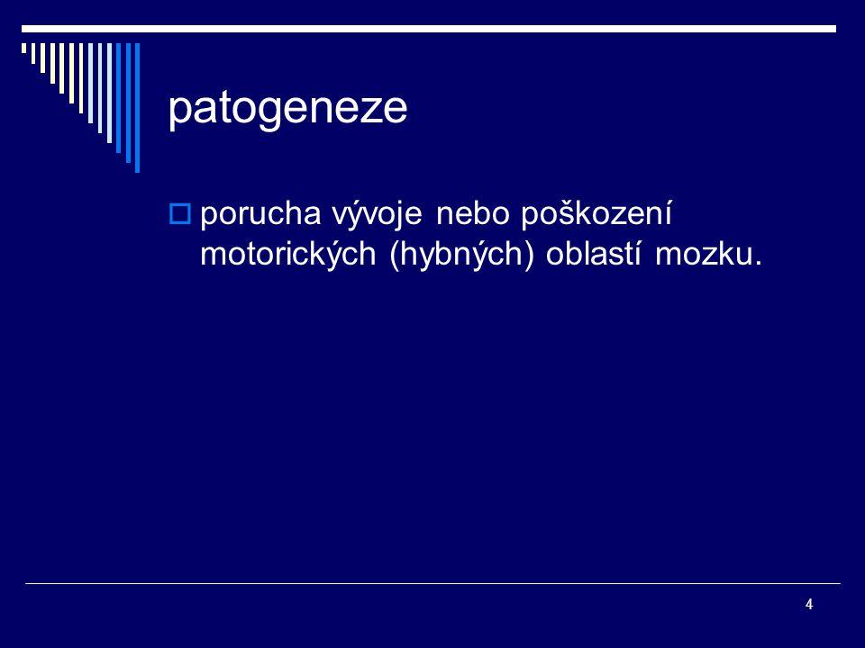 patogeneze porucha vývoje nebo poškození motorických (hybných) oblastí mozku.