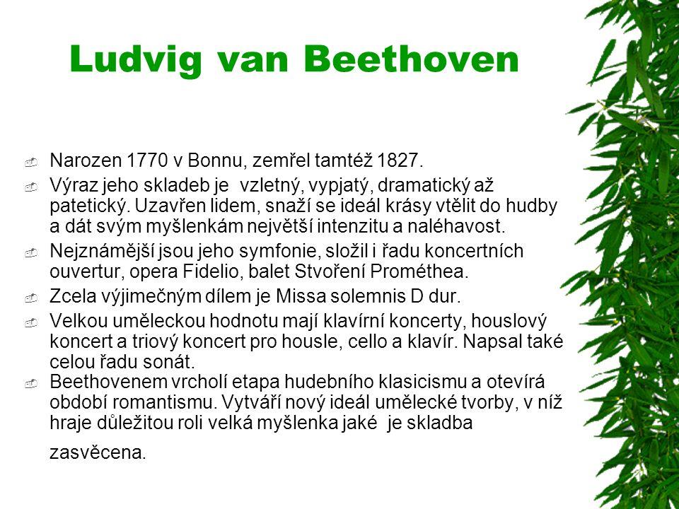 Ludvig van Beethoven Narozen 1770 v Bonnu, zemřel tamtéž 1827.