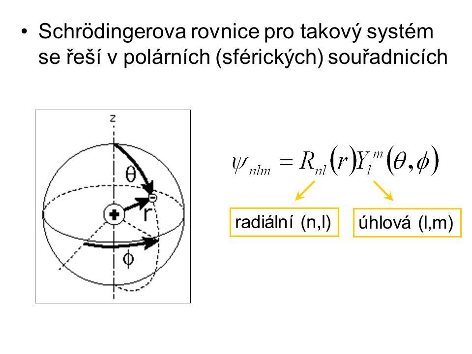 Schrödingerova rovnice pro takový systém se řeší v polárních (sférických) souřadnicích