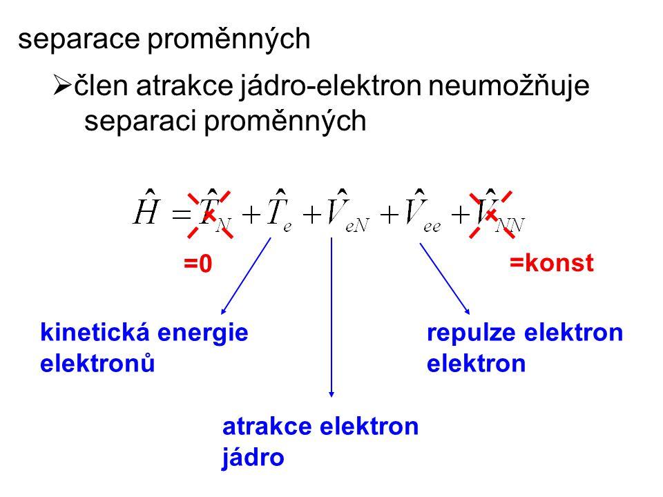 člen atrakce jádro-elektron neumožňuje separaci proměnných