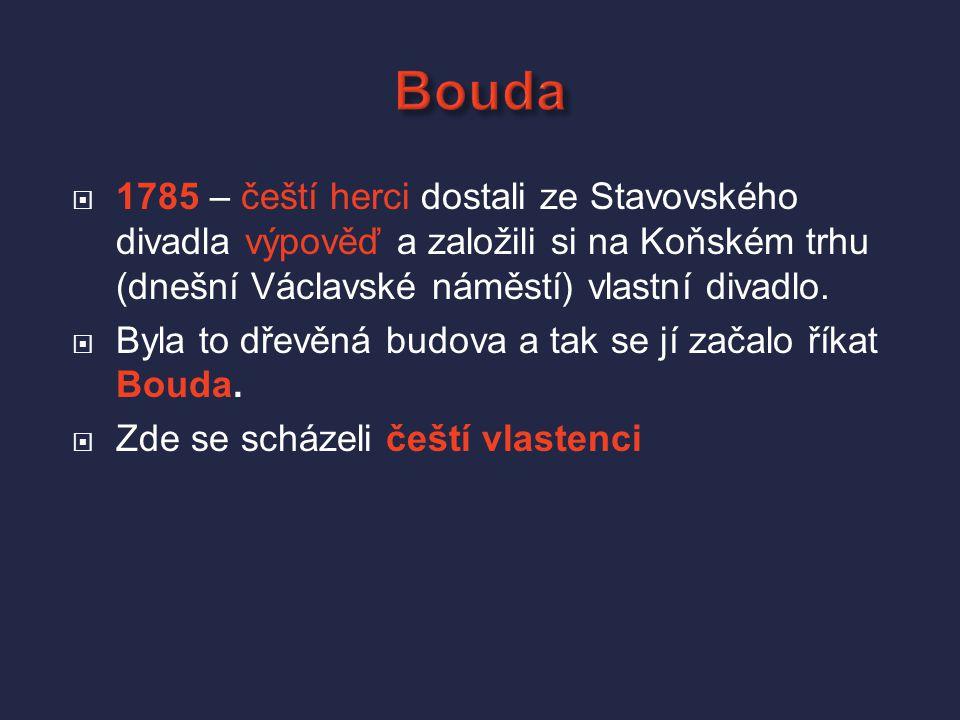 Bouda 1785 – čeští herci dostali ze Stavovského divadla výpověď a založili si na Koňském trhu (dnešní Václavské náměstí) vlastní divadlo.