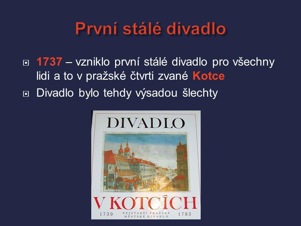 První stálé divadlo 1737 – vzniklo první stálé divadlo pro všechny lidi a to v pražské čtvrti zvané Kotce.