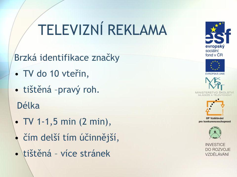 TELEVIZNÍ REKLAMA Brzká identifikace značky TV do 10 vteřin,