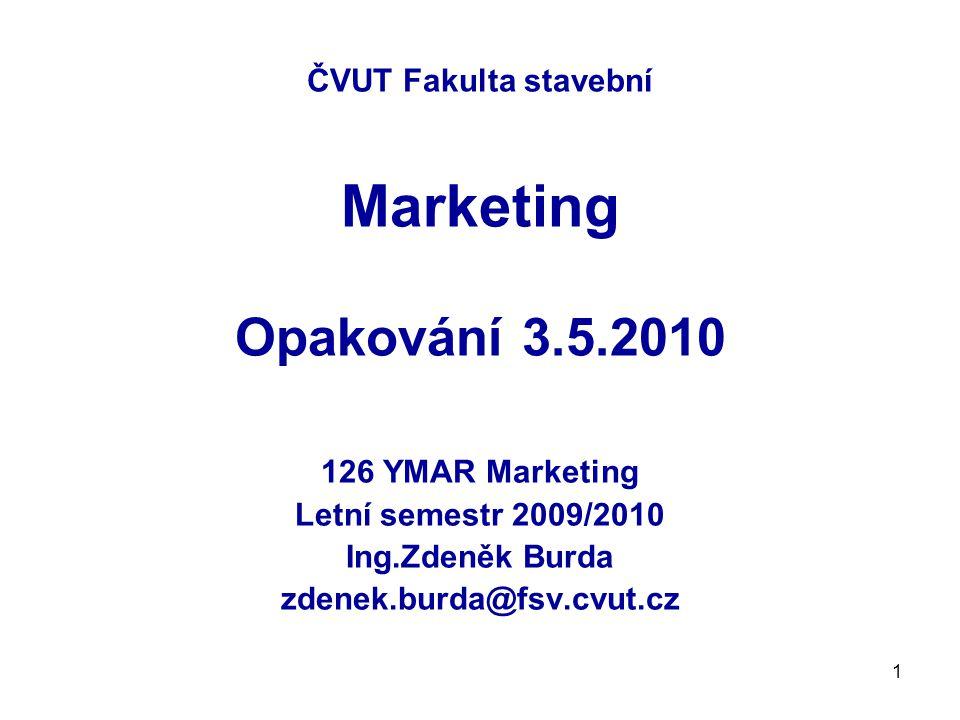 ČVUT Fakulta stavební Marketing Opakování 3.5.2010