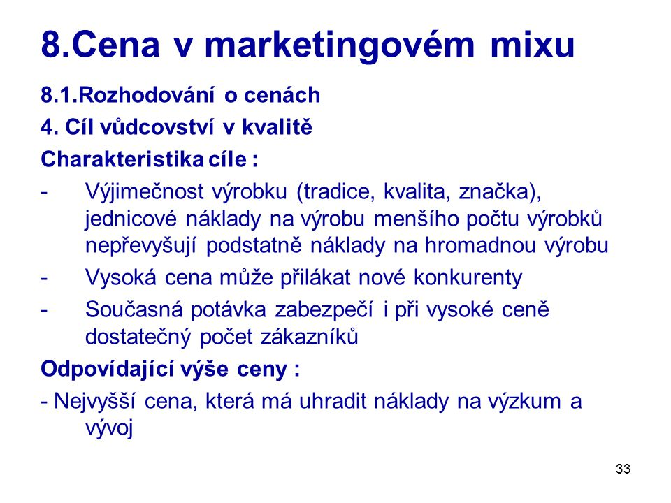 8.Cena v marketingovém mixu