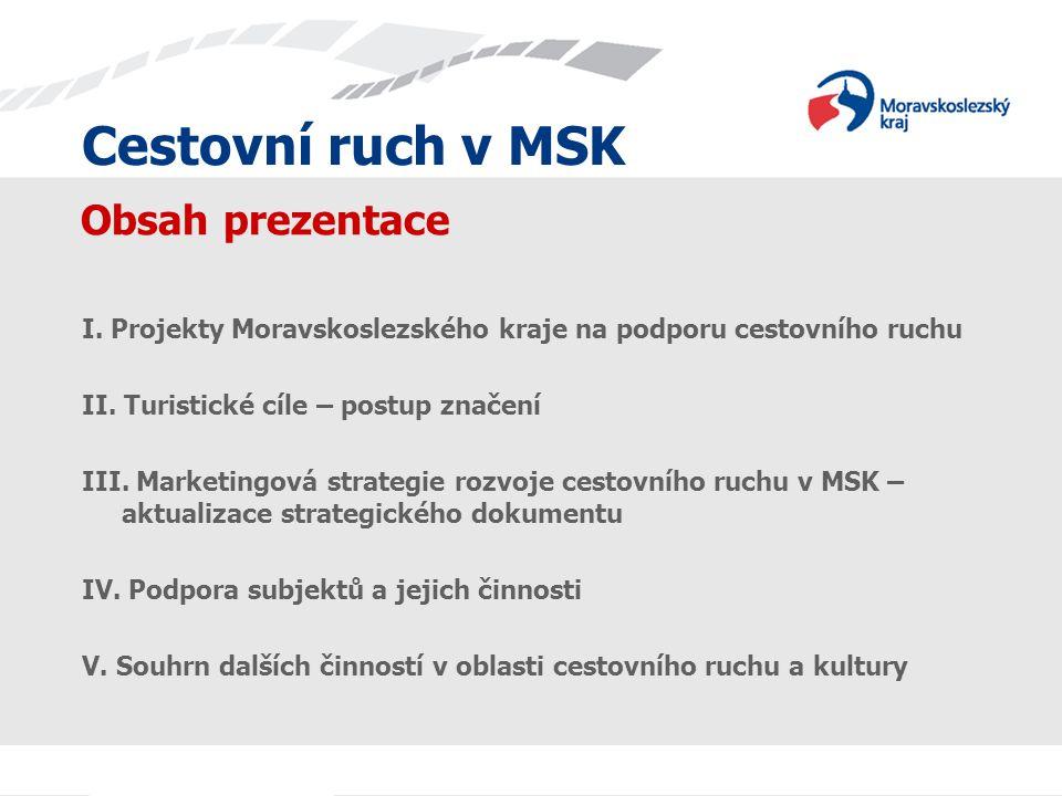 Cestovní ruch v MSK Cestovní ruch v MSK. Obsah prezentace. I. Projekty Moravskoslezského kraje na podporu cestovního ruchu.
