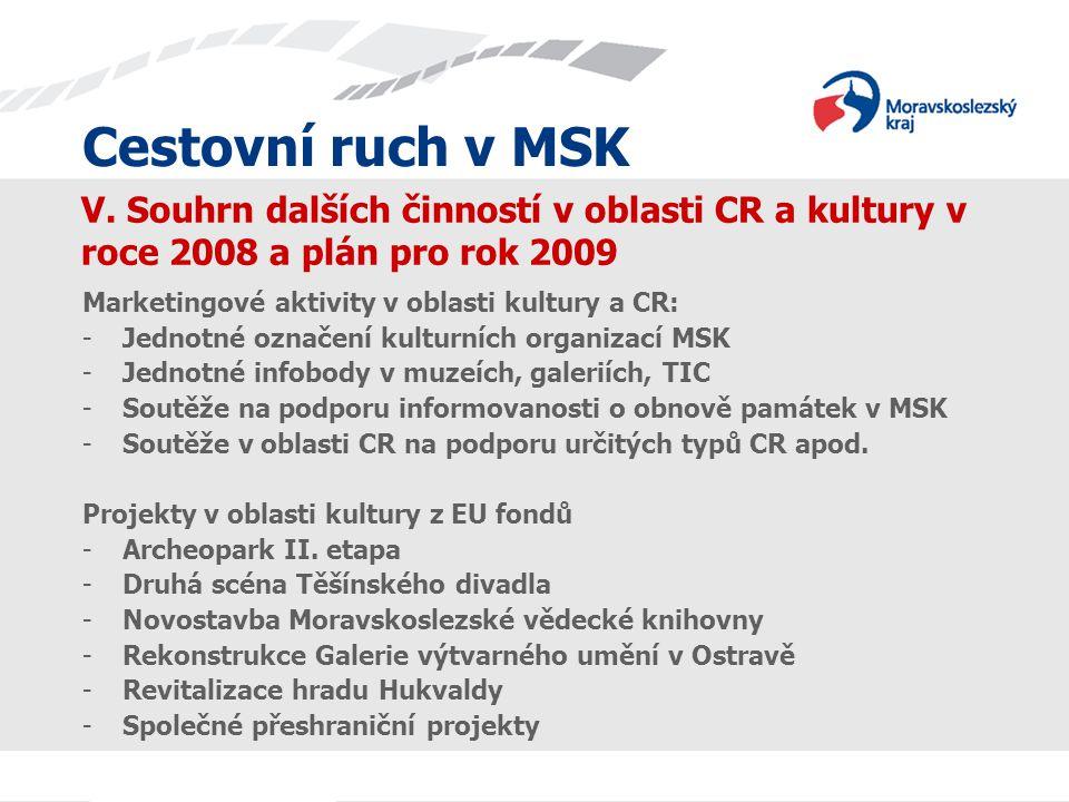 Cestovní ruch v MSK Cestovní ruch v MSK. V. Souhrn dalších činností v oblasti CR a kultury v roce 2008 a plán pro rok 2009.