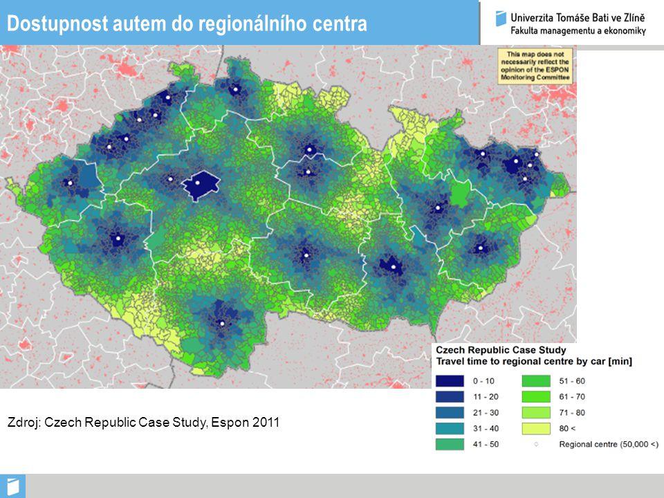 Dostupnost autem do regionálního centra