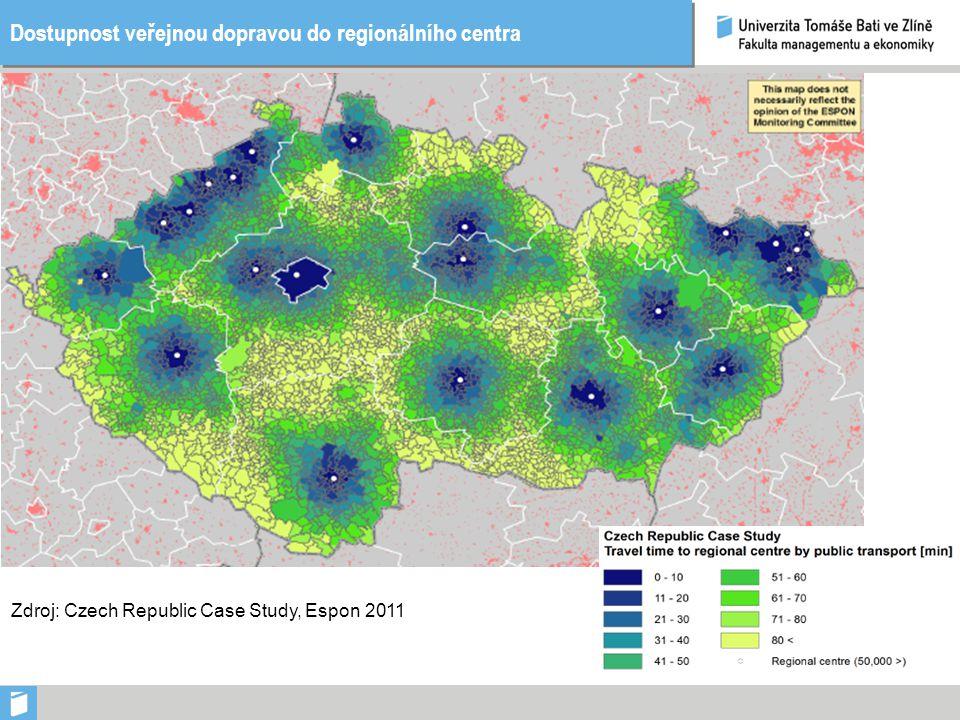 Dostupnost veřejnou dopravou do regionálního centra