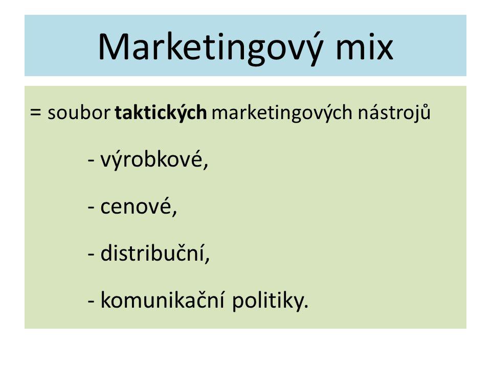 Marketingový mix = soubor taktických marketingových nástrojů - výrobkové, - cenové, - distribuční, - komunikační politiky.