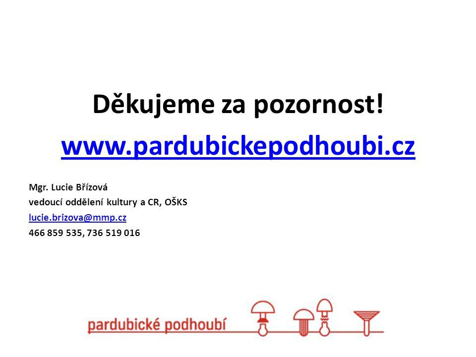 Děkujeme za pozornost! www.pardubickepodhoubi.cz