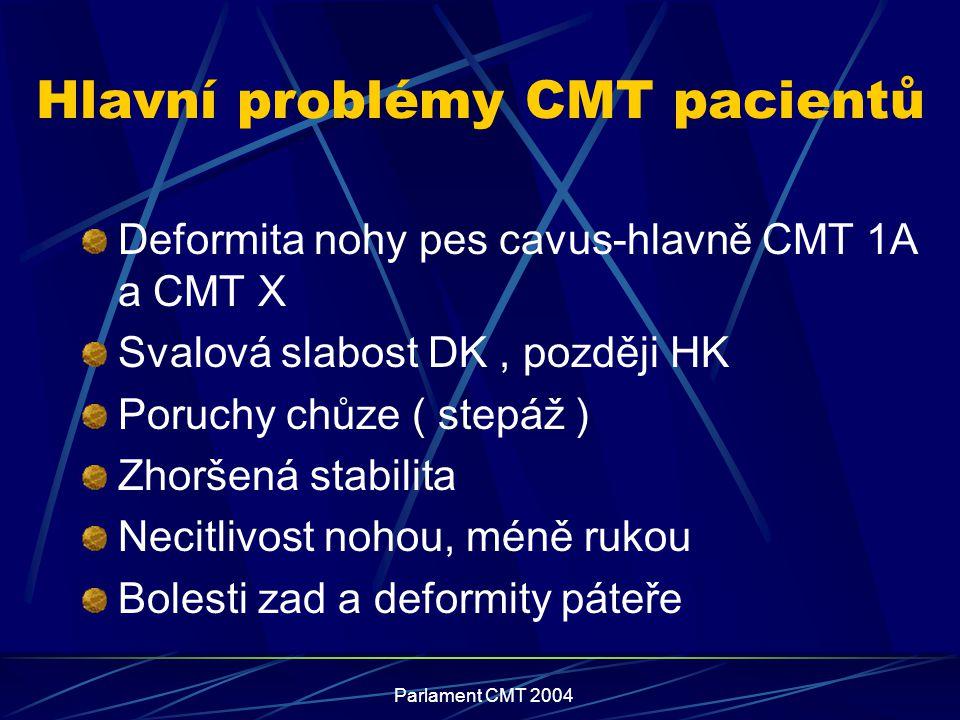 Hlavní problémy CMT pacientů