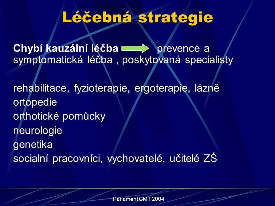 Léčebná strategie Chybí kauzální léčba prevence a symptomatická léčba , poskytovaná specialisty.