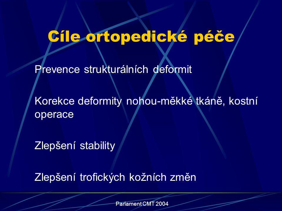Cíle ortopedické péče Prevence strukturálních deformit