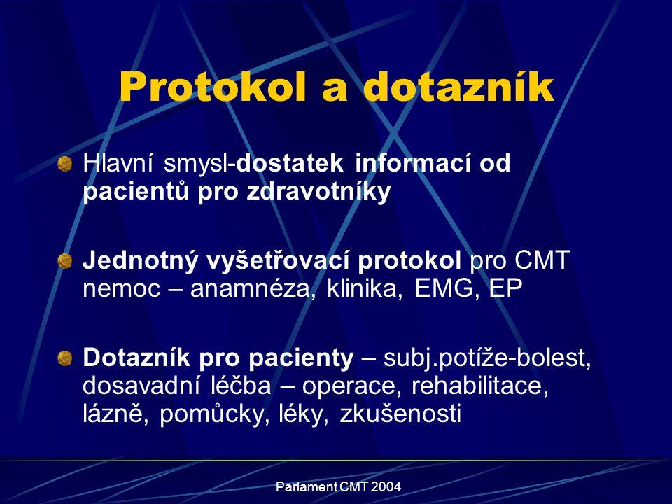 Protokol a dotazník Hlavní smysl-dostatek informací od pacientů pro zdravotníky.