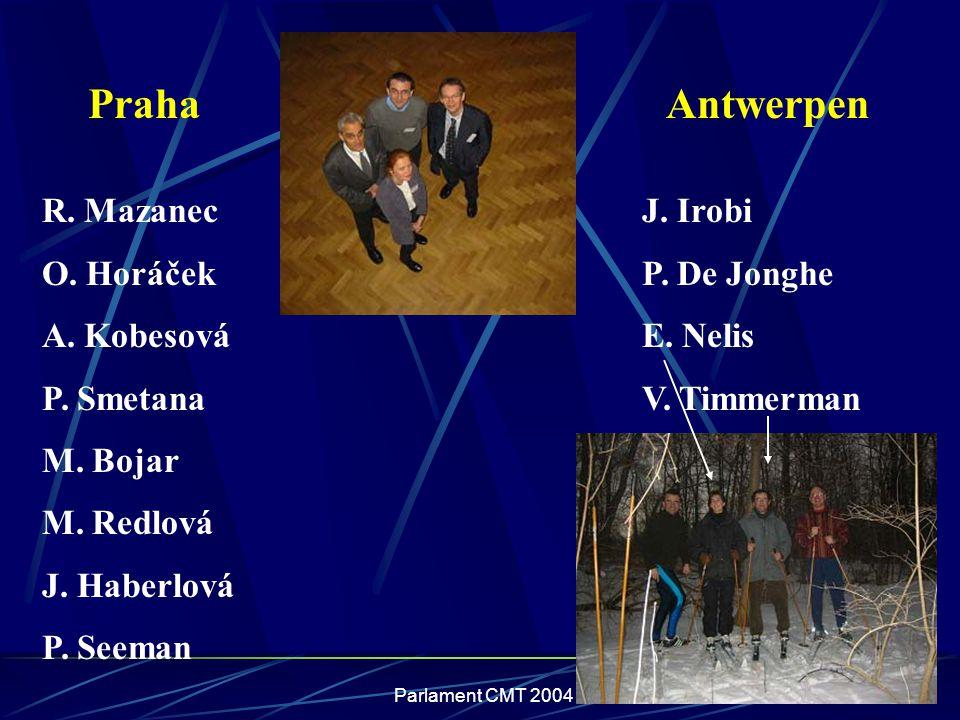 Praha Antwerpen R. Mazanec O. Horáček A. Kobesová P. Smetana M. Bojar