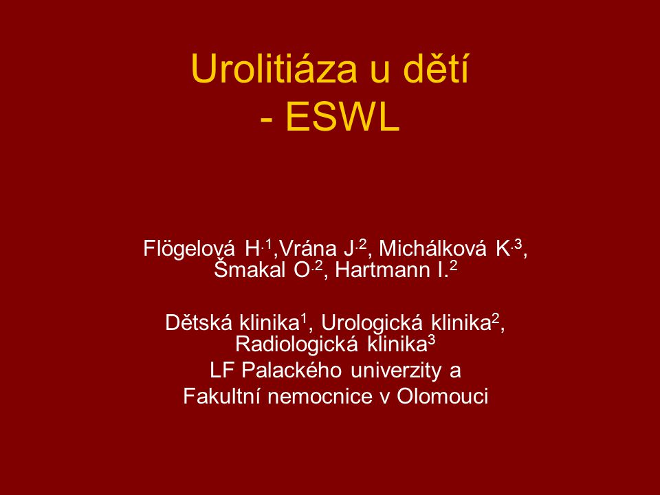 Urolitiáza u dětí - ESWL