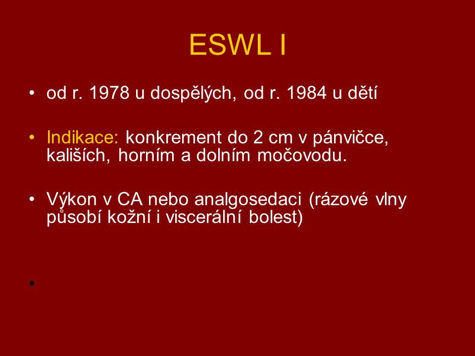 ESWL I od r. 1978 u dospělých, od r. 1984 u dětí