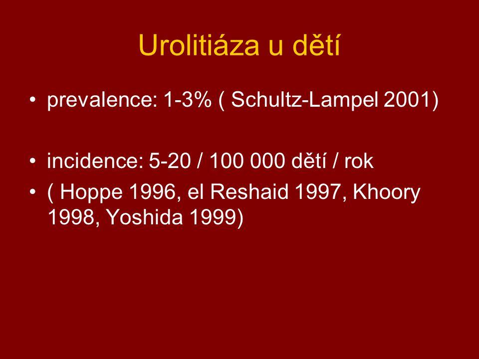 Urolitiáza u dětí prevalence: 1-3% ( Schultz-Lampel 2001)
