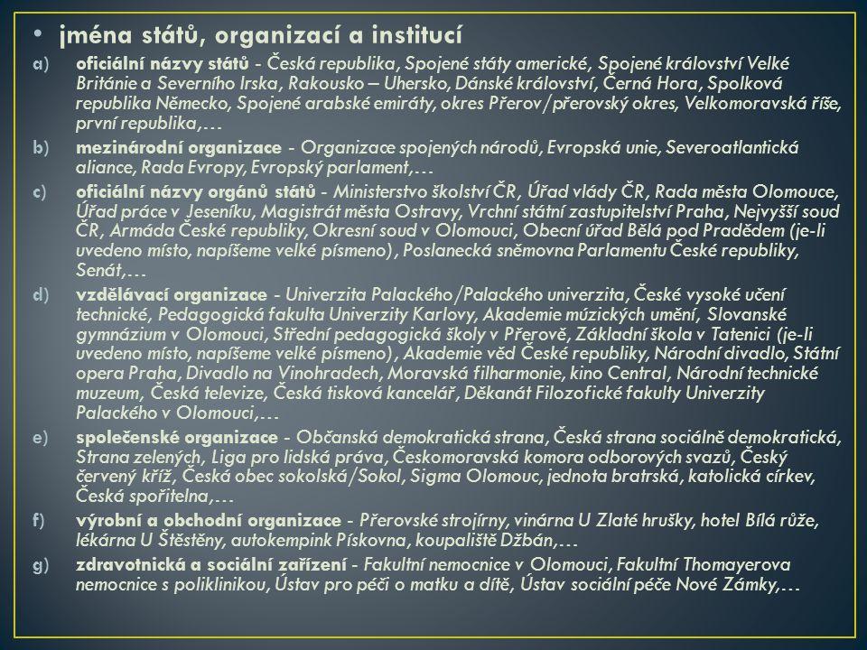 jména států, organizací a institucí