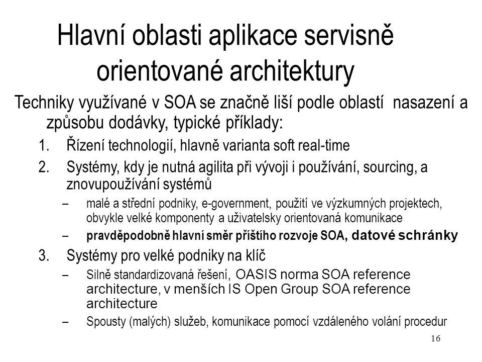 Hlavní oblasti aplikace servisně orientované architektury