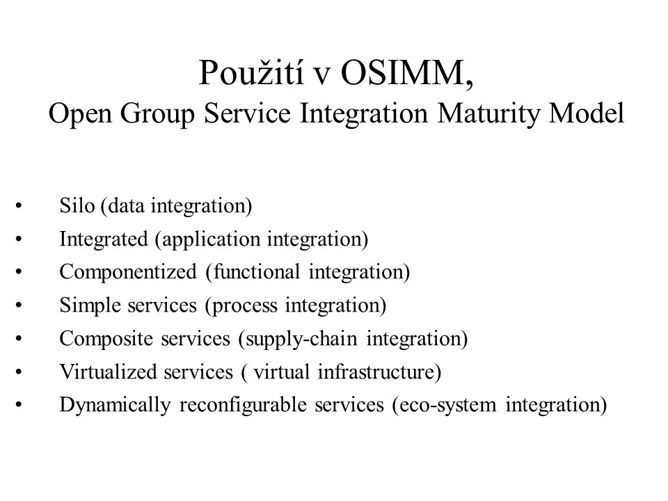 Použití v OSIMM, Open Group Service Integration Maturity Model