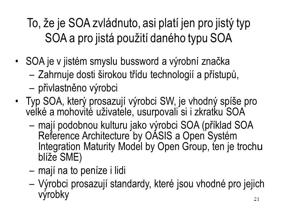 To, že je SOA zvládnuto, asi platí jen pro jistý typ SOA a pro jistá použití daného typu SOA