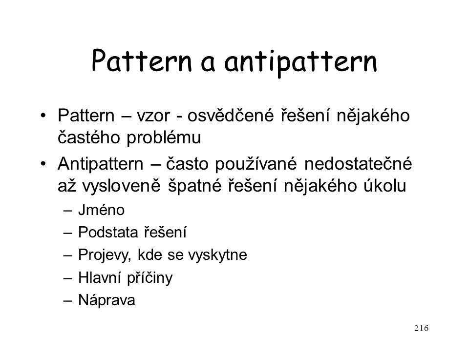 Pattern a antipattern Pattern – vzor - osvědčené řešení nějakého častého problému.