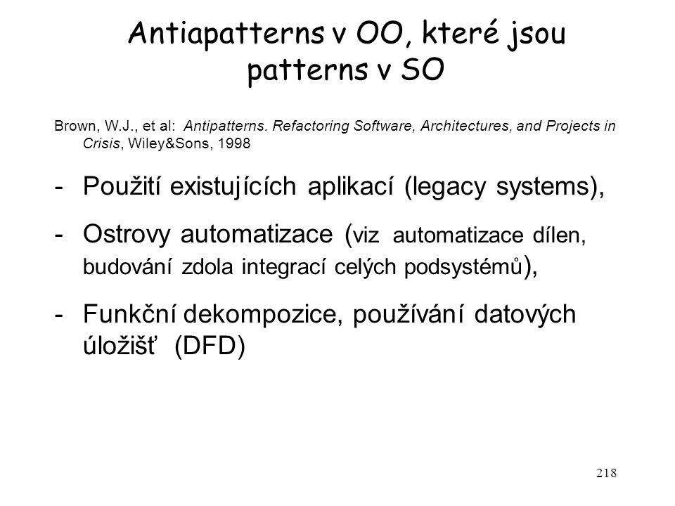 Antiapatterns v OO, které jsou patterns v SO