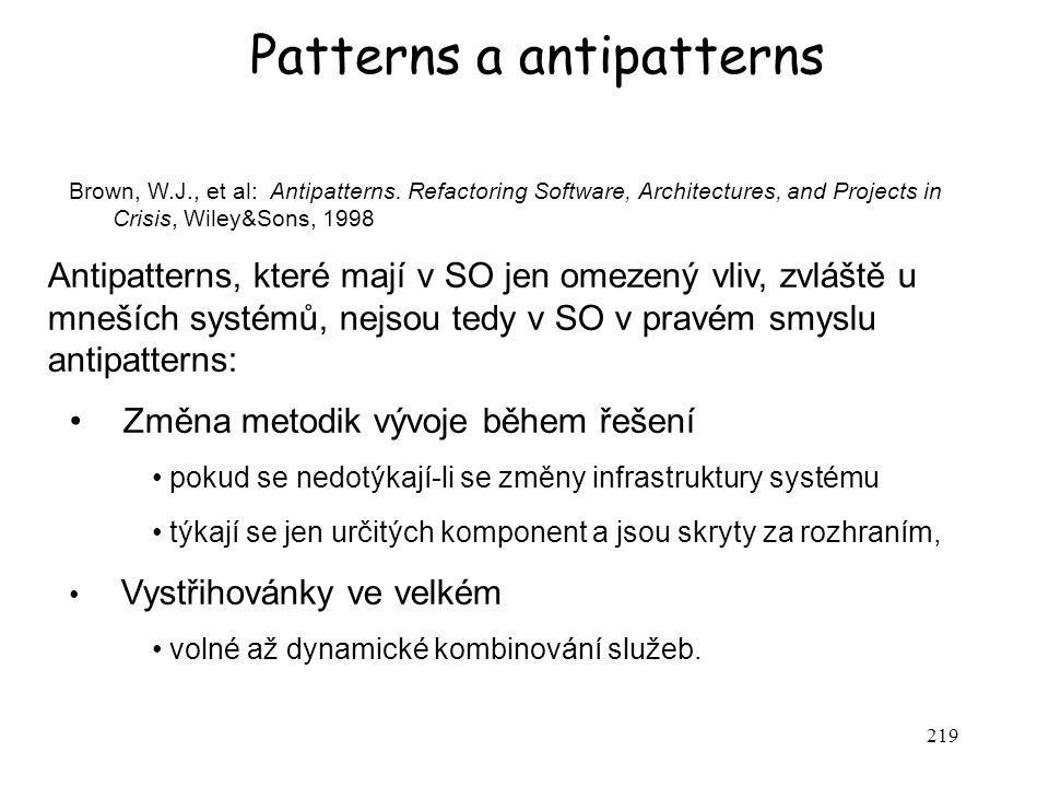 Patterns a antipatterns