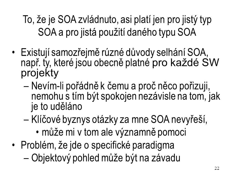 Klíčové byznys otázky za mne SOA nevyřeší,