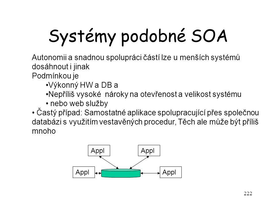 Systémy podobné SOA Autonomii a snadnou spolupráci částí lze u menších systémů dosáhnout i jinak. Podmínkou je.