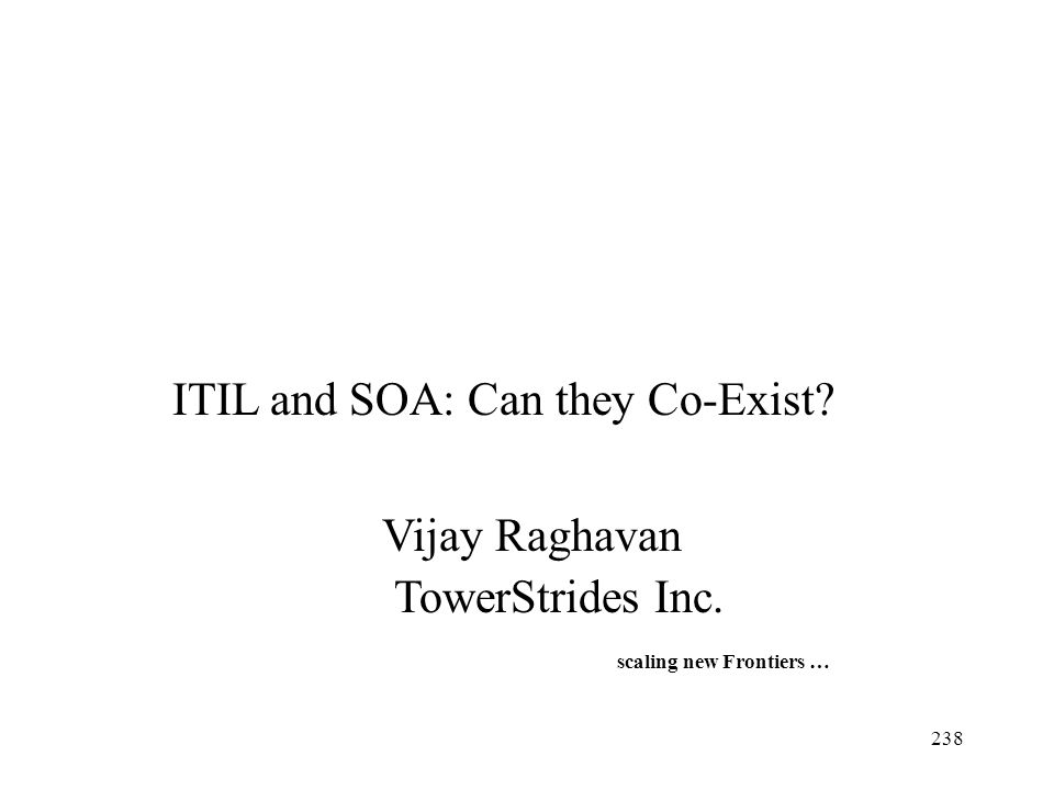 ITIL and SOA: Can they Co-Exist Vijay Raghavan