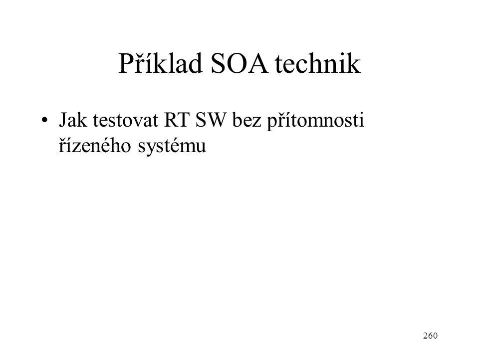 Příklad SOA technik Jak testovat RT SW bez přítomnosti řízeného systému 260