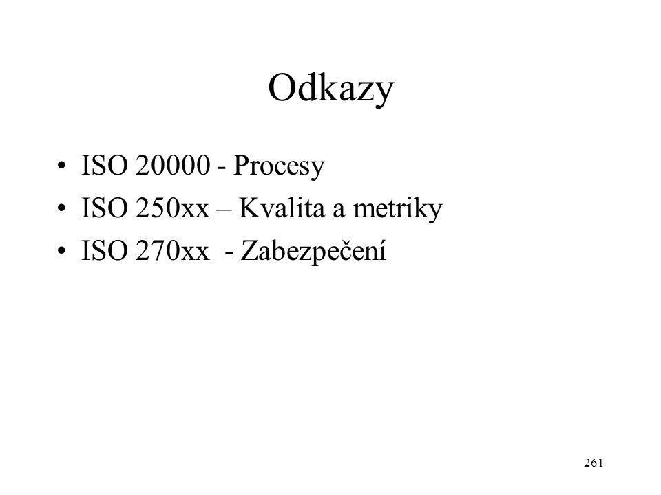 Odkazy ISO 20000 - Procesy ISO 250xx – Kvalita a metriky