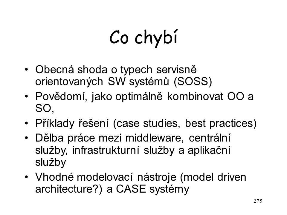 Co chybí Obecná shoda o typech servisně orientovaných SW systémů (SOSS) Povědomí, jako optimálně kombinovat OO a SO,