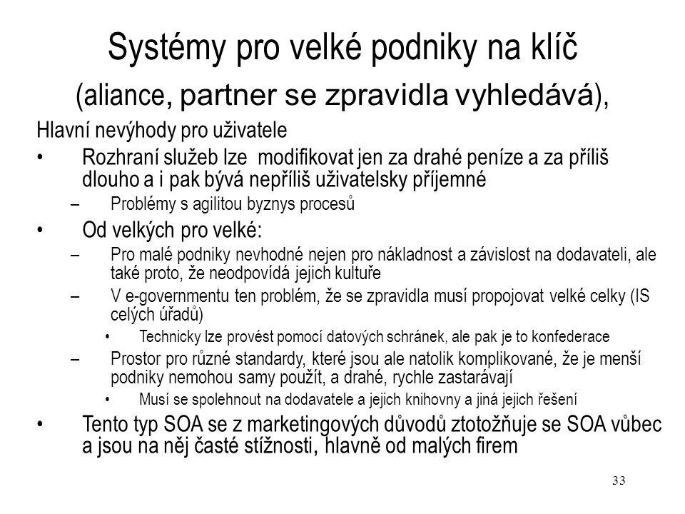 Systémy pro velké podniky na klíč (aliance, partner se zpravidla vyhledává),