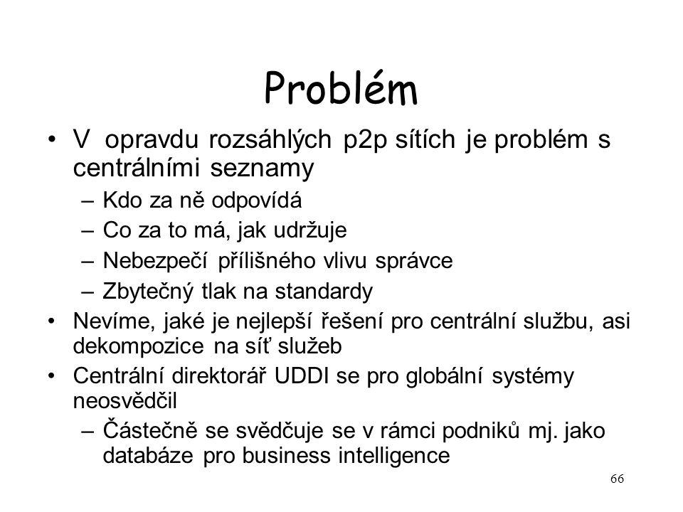 Problém V opravdu rozsáhlých p2p sítích je problém s centrálními seznamy. Kdo za ně odpovídá. Co za to má, jak udržuje.