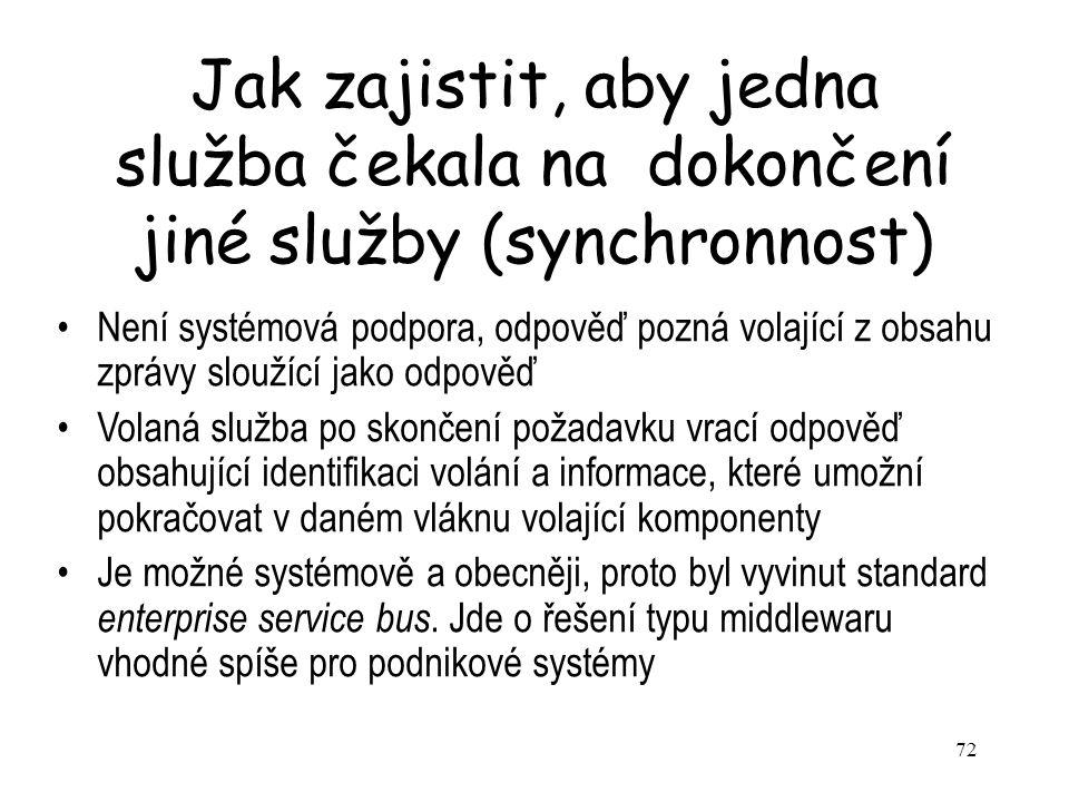 Jak zajistit, aby jedna služba čekala na dokončení jiné služby (synchronnost)