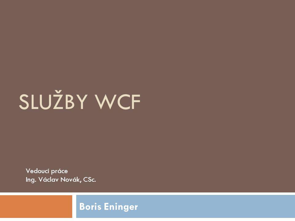 Služby WCF Vedoucí práce Ing. Václav Novák, CSc. Boris Eninger
