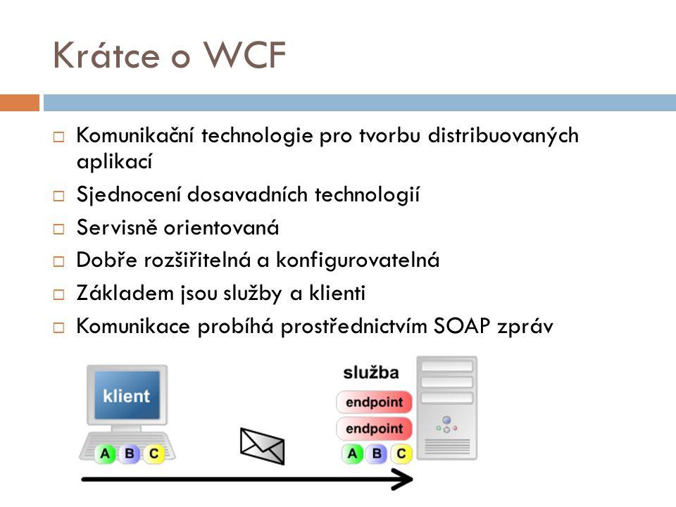 Krátce o WCF Komunikační technologie pro tvorbu distribuovaných aplikací. Sjednocení dosavadních technologií.