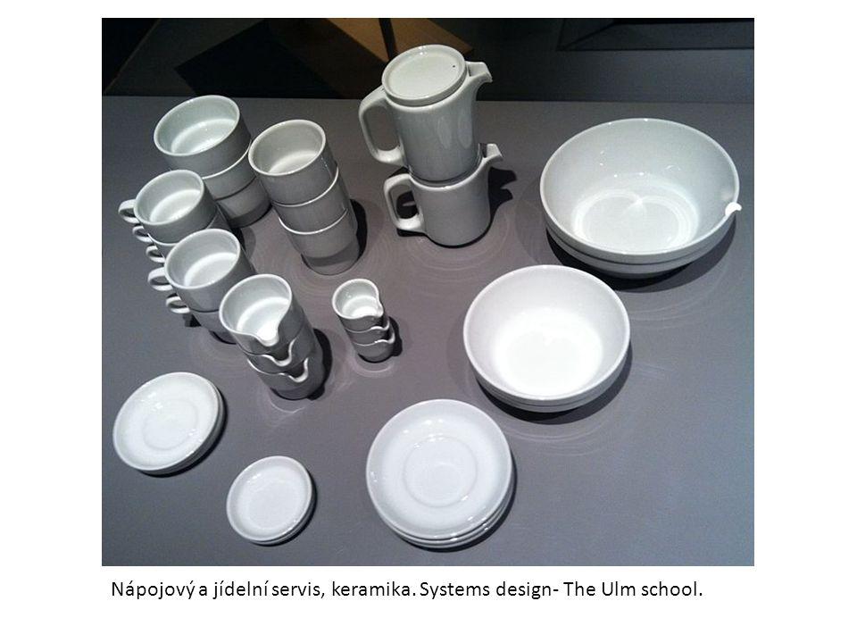Nápojový a jídelní servis, keramika. Systems design- The Ulm school.