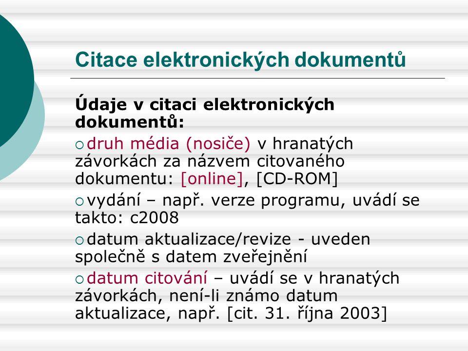 Citace elektronických dokumentů